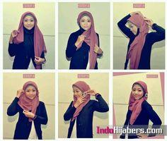 Tutorial Hijab By Mayra Hijab: Gambar Tutorial Jilbab Segi Empat yang Simple Muslim Fashion, Hijab Fashion, Hijab Stile, Hijab Tutorial, Beautiful Hijab, Hijab Outfit, Scarf Styles, Fashion 2020, Put On