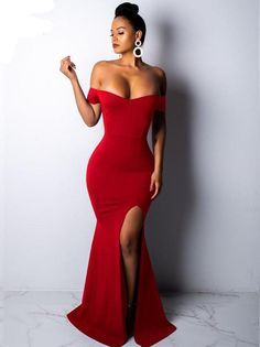 dddf3f1679c Elegant Off Shoulder Thigh Split Maxi Dress