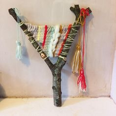Tried some branch weaving on a bigger branch was really fun and added some tassels this time too. Had lots of fun with the colours on this one! Weaving For Kids, Weaving Art, Tapestry Weaving, Loom Weaving, Fabric Art, Fabric Crafts, Guerilla Knitting, 8th Grade Art, Branch Art