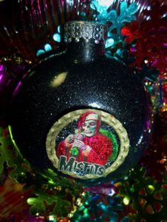 MISFITS Glass Black Glitter Resin Christmas Ornament ooak Holiday Decoration gift Heavy Metal Hard Rock Guitar