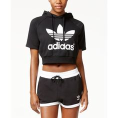 adidas Originals Cropped Hoodie ($65) ❤ liked on Polyvore featuring tops, hoodies, black, logo hoodie, hooded pullover, cropped hoodies, hooded sweatshirt and adidas hoodies