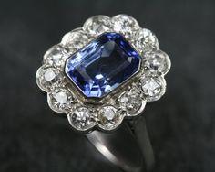 Platinum, Sapphire and Diamond Cluster Ring. Circa 1930. Remake with Mom's sapphire and Gma's diamonds?