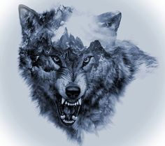 Cool Snarling Wolf Tattoo Design - Great black and gray snarling wolf with mountains inside. Wolf Tattoo Design, Wolf Sketch Tattoo, Wolf Tattoo Sleeve, Tattoo Drawings, Body Art Tattoos, New Tattoos, Tattoos For Guys, Sleeve Tattoos, Tattoo Designs