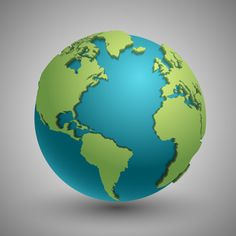 Earth Globe With Green Continents. Modern World Map Concept. Green Planet With Continent Illustra Isometric Design, World Globes, Drip Painting, Earth From Space, Pencil Drawings, Art Projects, Green, Vector Freepik, Atlantic Ocean
