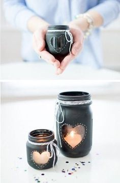 Crafts with cans and glass containers - Interior and exterior decoration Pot Mason Diy, Mason Jar Crafts, Bottle Crafts, Mason Jars, Diy Candles, Candle Jars, Candle Holders, Glass Containers, Glass Jars