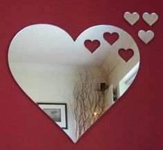 heart shape mirror...ask a glass shop if they can cut the shape out for you. By Super Coolcreations