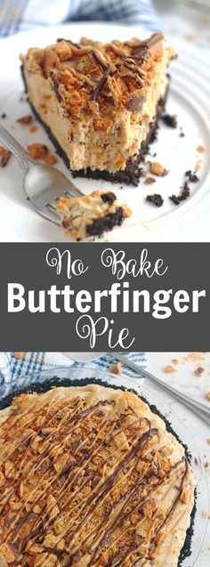 This No Bake Butterfinger Pie starts is ridiculously good! An Oreo crust, a decadent peanut butter cream cheese filling & crushed Butterfinger candy bars, what's not to love? No Bake Butterfinger Pie – 5 Boys Baker Köstliche Desserts, Delicious Desserts, Dessert Recipes, Butterfinger Cheesecake, Butterfinger Bar Recipe, Oreo Peanut Butter Pie Recipe, Peanut Butter Cream Pie, Butter Finger Dessert, Dessert Oreo