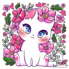 This cat loves flowers 🌸🌸🌸🌼🌼🌷🌷🌺🌺 Chat Kawaii, Manga Kawaii, Kawaii Cat, Kawaii Chibi, Cute Animal Drawings Kawaii, Cute Kawaii Animals, Cute Cat Drawing, Cute Drawings, Anime Animals