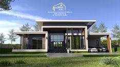 Loft House Design, House Front Design, Modern House Design, Architecture Building Design, Home Building Design, Building A House, New Model House, Model House Plan, Single Storey House Plans