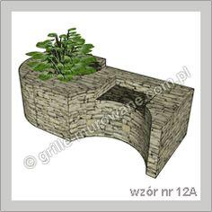 Grill Murowany Z Kamienia Otwarty Z Półką Wzór Nr 12