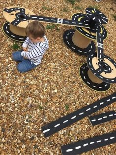 Kids love train tracks and cars inside so why not bring it outside, they will ha. Kids love train tracks and cars inside so why not bring it outside, they will have way more space and they can even Kids Outdoor Play, Outdoor Play Areas, Backyard For Kids, Outdoor Fun, Backyard Ideas, Projects For Kids, Diy For Kids, Crafts For Kids, Garden Projects