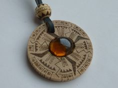"Wooden pendant ""Aztec"" decorated with pyrography and glass"