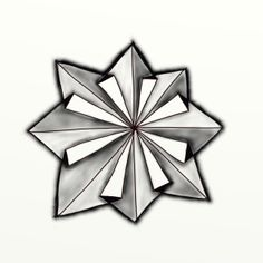 Tangle Pattern ~ Star-igami – by Jean Theurkauf, CZT.  This tangle looks like an origami star.  Different values of shading give a folded appearance. It is very easy to draw, once you get into the rhythm. It makes a wonderful centerpiece or focal point. Or, draw a cluster of Star-igami.