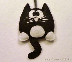felt ornaments   Tuxedo Cat Felt Christmas Ornament Licorice the by SpokenStitch