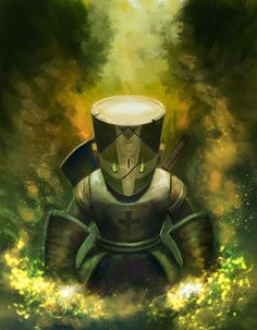 Great illustration of the Green Knight from Castle Crashers.  (by Kalen Chock)