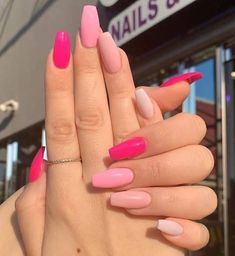 Elegant Nail Designs, Pink Nail Designs, Elegant Nails, Stylish Nails, Acrylic Nail Designs, Nails Design, Bright Summer Acrylic Nails, Simple Acrylic Nails, Pink Acrylic Nails