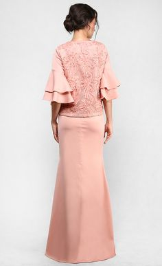 The Lace Kedah Kurung with Tiered Sleeves in Coral   FashionValet