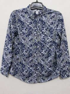 Old Navy - Women's Top/Blouse Size Large Blue Floral -  Button Down Front with Long Sleeves #OldNavy #ButtonDownFrontBlouse #Casual