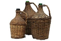 "Wicker Demijohn Bottles  Large: 13""W x 19""H  Medium: 9""D x 15""H  Small: 8""D x 13""H  ($265.00)  $145.00  OneKingsLane.com"