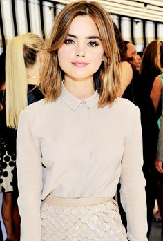 Jenna Coleman wearing Burberry at Eddie Redmayne, Vanity Fair And Burberry Celebrate BAFTA Los Angeles and the Britannia Awards at Chateau Marmont on October 29, 2014 in Los Angeles, California.