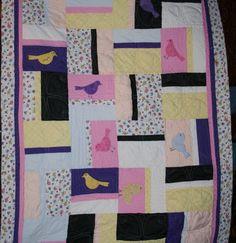 Blue Bird of Happiness Baby Quilt - an original design by Deborah using Accuquilt.