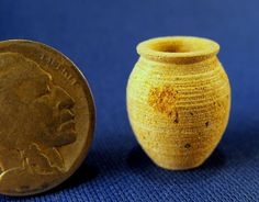 "Jeff Spera - Hollow turned  Appalachian soapstone vessel;  just 3/4"" tall and 5/8"" in diameter."