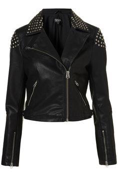 Studded Biker Jacket $130 @ TOPSHOP