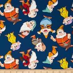 Disney Snow White Dwarf Toss Blue from @fabricdotcom  Licensed by Disney for Springs Creative, this cotton print fabric is perfect for quilting, apparel and home decor accents. Colors include shades of blue, yellow, orange, brown, purple and red.