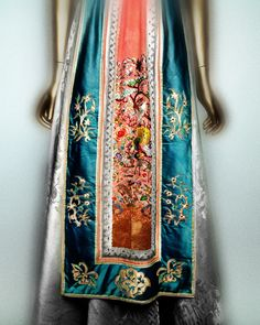 Mainbocher (American, 1890–1976). Dress, 1950. Pale pink and green silk jacquard with panels of pink and blue silk satin embroidered with polychrome silk thread. The Metropolitan Museum of Art, Gift of Mrs. Winston Guest, 1973 (1973.143.1a, b) | Photography © Platon #ChinaLookingGlass #AsianArt100