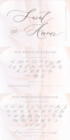 Saint Amour Script is an elegant calligraphy font that will look awesome on wedding and event stationery, logos and branding materials, cards and so on. Calligraphy Fonts, Script Fonts, Modern Calligraphy, Cyrillic Alphabet, Russian Tattoo, Hand Lettering Alphabet, Hand Drawn Fonts, Meaningful Tattoos For Women, Back Tattoo Women