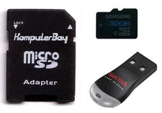 Samsung 32GB Class 10 MicroSDHC High Speed Memory Card with Komputerbay SD Adapter and SanDisk MobileMate USB Reader
