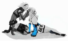 Nier Replicant. Nier x Kaine. Anime couple in black and white / monochrome with splash of colour.  For original: http://www.pixiv.net/member_illust.php?mode=medium&illust_id=30320867