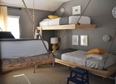 Hanging Daybed, Creative and Innovative Bedroom Design DIY by Ana White One Bedroom, Diy Bedroom Decor, Bedroom Ideas, Kids Bedroom, Kids Rooms, Bedroom Furniture, White Bedroom, Furniture Ideas, Childrens Bedroom