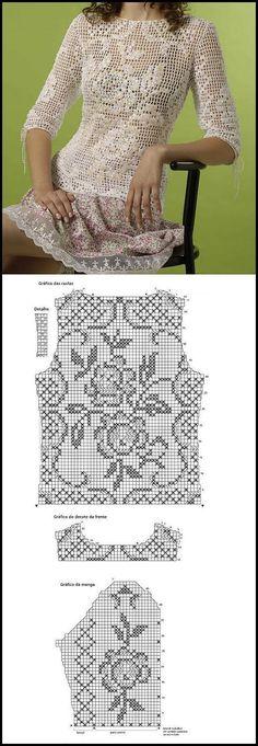 40 Ideas For Crochet Sweater Vest Pattern Filet Crochet, Crochet Stitches, Knitting Charts, Baby Knitting Patterns, Crochet Patterns, Lace Knitting, Rug Patterns, Knitting Sweaters, Knitting Ideas