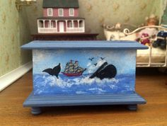 Toy wooden box miniature Dollhouse scale 1:12