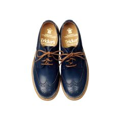 Trickers (TRICKER'S) - Shoes - Search fashion catalog 2862 | VOGUE.COM ❤ liked on Polyvore featuring shoes, oxfords, flats, scarpe, flat heel shoes, trickers shoes, flat shoes, flat pumps and oxford shoes