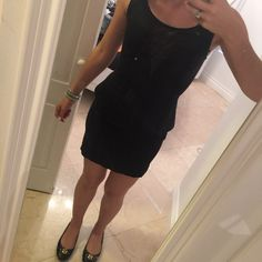 Black peplum dress Sexy tight but the right length to be classy. Sheer down the middle chest part Guess Dresses