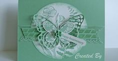 Stampin' Up! ... hand crafted card ... monochromatic mint green ... die cut butterflies layered over porthole negative space ... great card! | Pinterest | The …