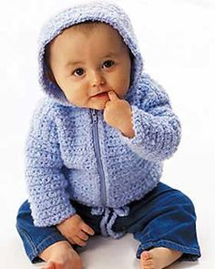 What a darling little cardigan with a hood, zip front, and cute little waist tie. Sizes 6-18 months (chest measurement 16-20