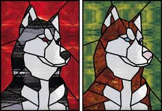 Siberian huskies in stained glass Stained Glass Quilt, Faux Stained Glass, Stained Glass Projects, Stained Glass Patterns, Tiffany Kunst, Dog Quilts, Dog Blanket, Glass Animals, Cat Tattoo