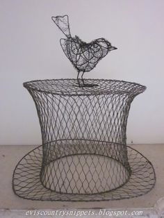 wire bird and top hat