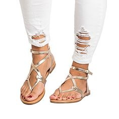 f77a66beb5f48e Huiyuzhi Womens Gladiator Flat Sandals Open Toe Ankle Wra... https