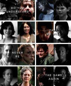 """Do you understand that we will never be the same again?"" Rick Grimes, Carl Grimes, Maggie Greene, Glenn Rhee, Beth Greene, Daryl Dixon, Carol Peletier, Michonne | The Walking Dead"