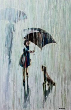 Umbrella for Two by Igor Mudrov   2011    Oil  painting print on Canvas via Etsy.