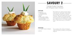 Cheddar scallion cupcakes with whipped cream cheese - looks tasty for brunch Savory Cupcakes, Cream Cheese Cupcakes, Savory Muffins, Whipped Cream Cheese, Cupcake Recipes, Cupcake Cakes, Dessert Recipes, Desserts, Savory Pastry