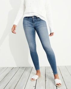cea2d6acab8d7c Designed in our slimmest fit with our highest level of stretch, these  comfortable jean leggings feature Advanced Stretch denim, a medium wash, ...