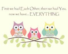 Owls- First we had each other, Nursery or children artwork, decoupage, girl, pink, blue, green, purple, yellow, bird, tree branch. $12.00, via Etsy.
