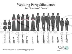 Wedding Party Silhouettes  The Bohemian Design by SitesbySamantha, $29.00