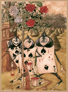 Alice in Wonderland Illustration by Arthur Rackham The Playing Cards Alice In Wonderland Theme, Adventures In Wonderland, Alice In Wonderland Steampunk, Lewis Carroll, Image Princesse Disney, Alice In Wonderland Illustrations, Alice Book, Chesire Cat, Painting The Roses Red