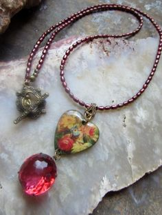 Rambling Rose - Necklace of Vintage Glass and Rose Heart with Pearls and Brass by Chilirose on Etsy